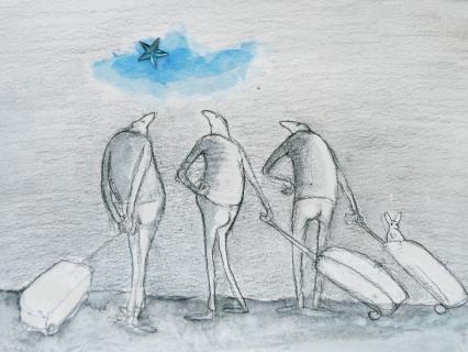 Männer mit Rollkoffern